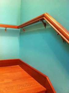 Mahogany stair rail