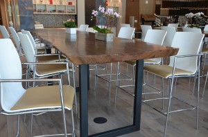 Custom live edge walnut slab cafeteria table