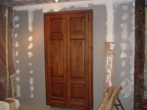 White oak storage room doors